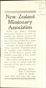 Hymns from The Songs of Zion (New Zealand Missionary Association)