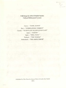 Folk Songs for 1974-75 Relief Society Cultural Refinement Lessons (1974)